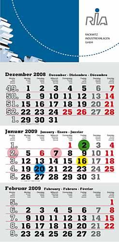 """3-Monats-Kalender """"Mini"""" 2019"""